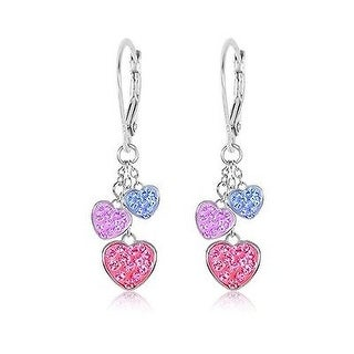 White Gold Tone Hearts Multi Color Crystal with Silver Leverbacks Kids Earring