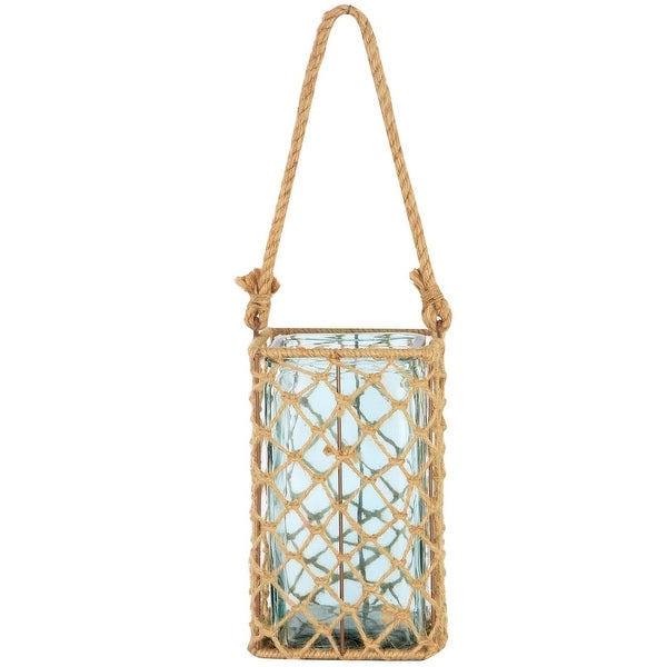 """9.5"""" Decorative Teal Glass and Jute Square Pillar Candle Holder with Handle - N/A"""