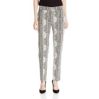 Kasper NEW Black White Women's Size 14X30 Printed Front-Tab Dress Pants
