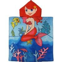 Kreative Kids Girls Blue Sitting Mermaid Poncho Hooded Bath & Beach Towel - One size