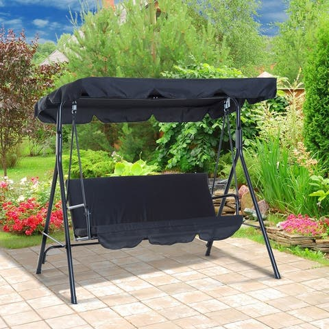 Outsunny Steel Outdoor Porch Swing Lounge Chair 3 Person with Adjustable Weather-Resistant Canopy & Durable Build, Black