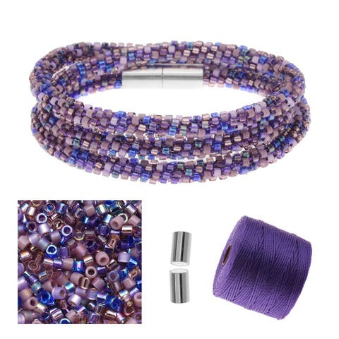 Refill - Beaded Kumihimo Wrap Bracelet Kit-Purple - Exclusive Beadaholique Jewelry Kit