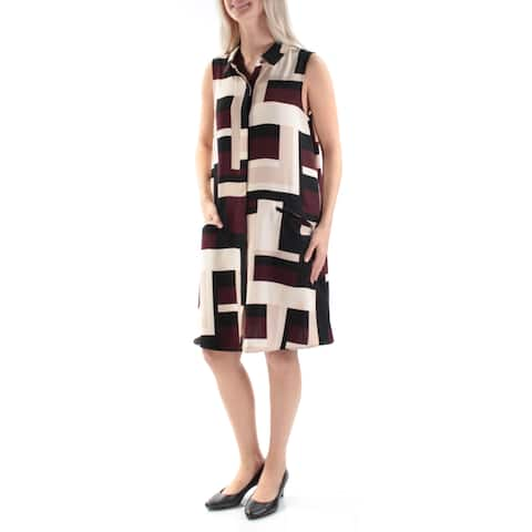c2d5cc311da ALFANI Womens Burgundy Zippered Printed Sleeveless Collared Knee Length  Shift Dress Size  4