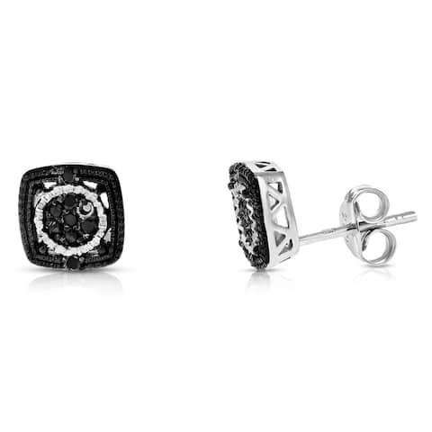 1/8 cttw Black Diamond Earrings in .925 Sterling Silver Push Backs Square Shape