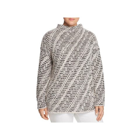 Nic + Zoe Womens Plus Ethereal Tunic Top Short Sleeves Mock Neck