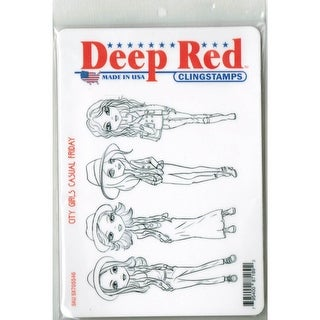Deep Red Stamps City Girls Casual Friday Rubber Cling Stamp - 4 x 6