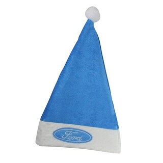 """18"""" Blue and White Ford Christmas Santa Hat with White Brim - Adult Size"""