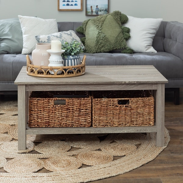 Driftwood 40-inch Coffee Table w/ storage baskets. Opens flyout.