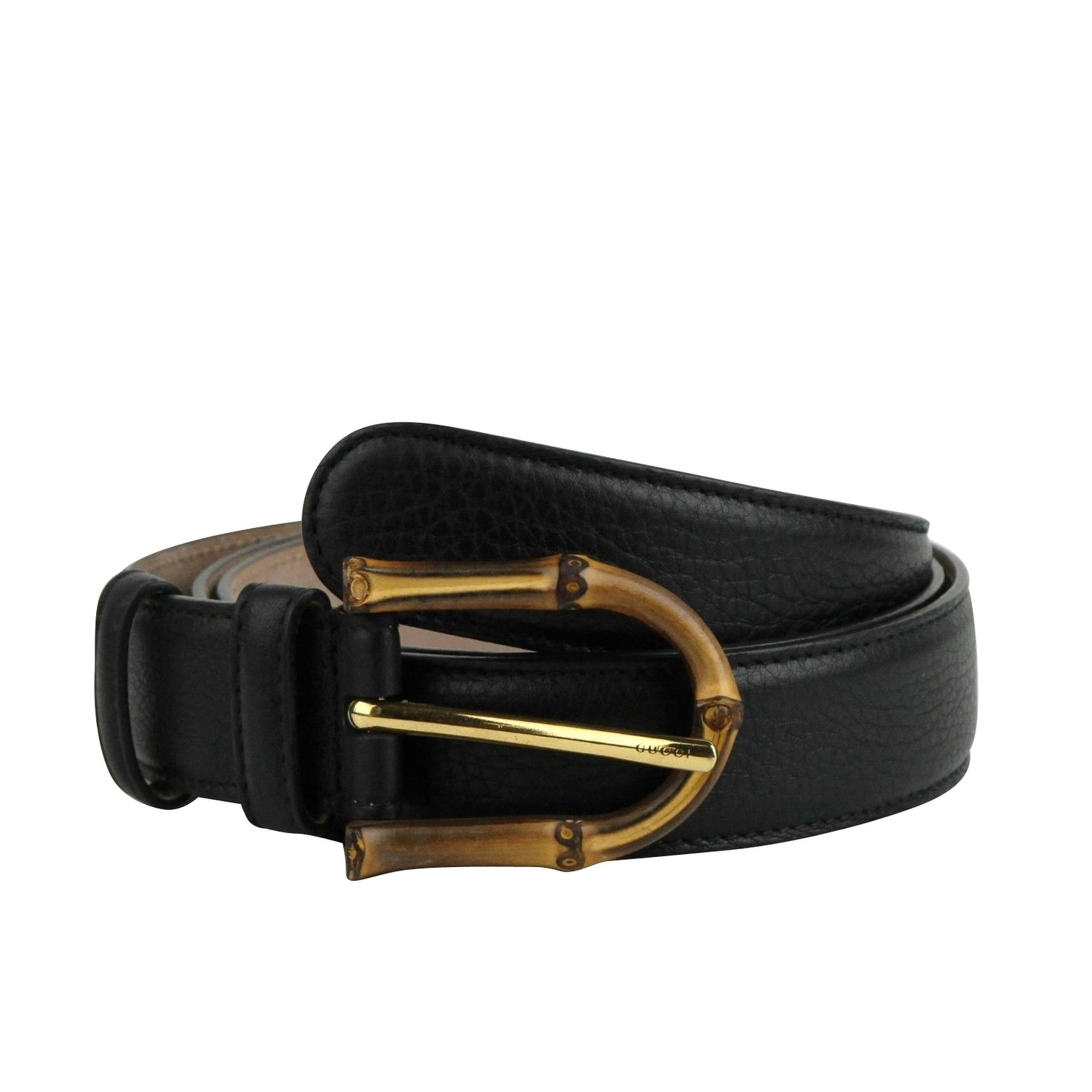 Gucci Women\u0027s Bamboo Black Leather Belt With Buckle 322954 1000 Women\u0027s (95  / 38)