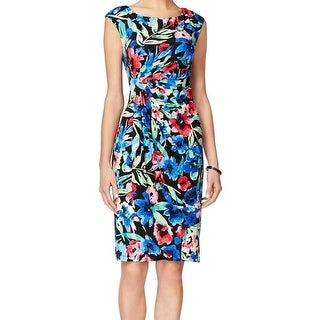 Connected Apparel NEW Black Blue Women's Size 16 Sheath Printed Dress