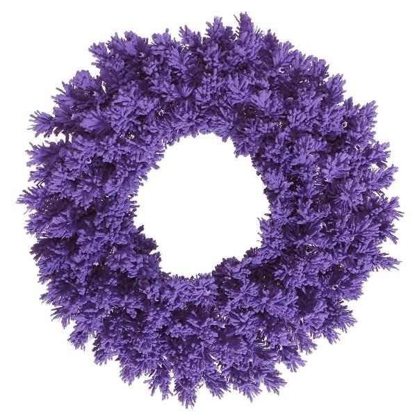 """36"""" Flocked Purple Fir Wreath 260T"""