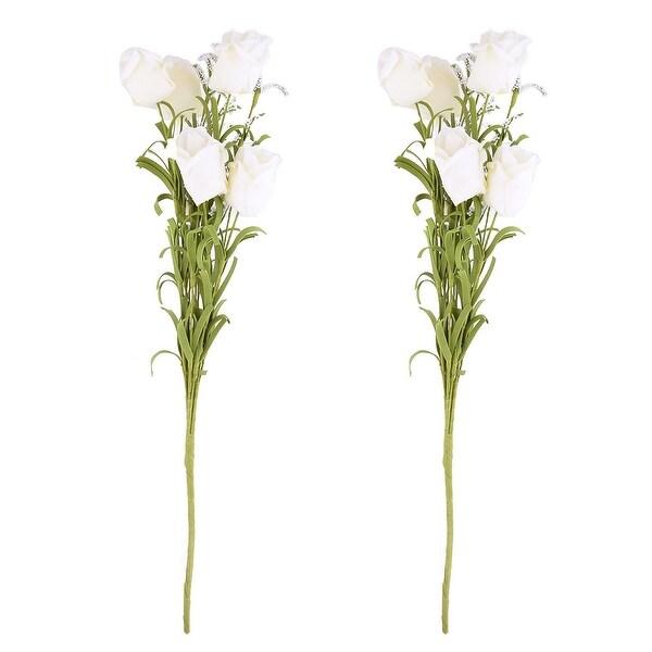 Dorm Windowsill Foam DIY Artificial Rose Bouquet Flower Off White 17.5 Inch Height 2pcs