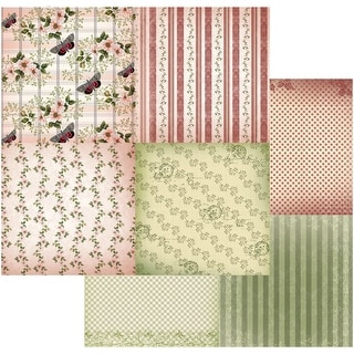 "Vintage Rose Garden Double-Sided Paper 12""X12""-Butterflies & Stripes 4up"