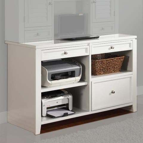 Q-Max 48 In.Credenza with Storage Drawer, File Drawer, and Adjustable Wood Shelves in Cottage White Finish