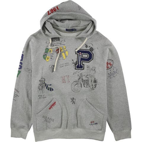 Ralph Lauren Mens Graphic Fleece Hoodie Sweatshirt, Grey, XX-Large