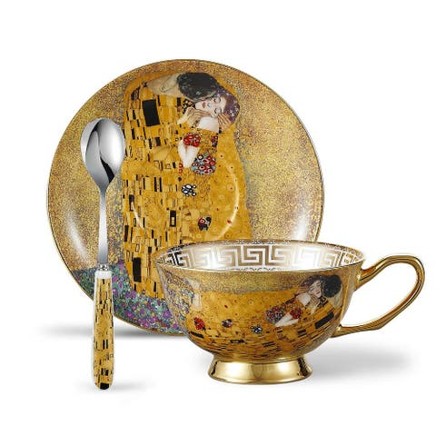 Panbado Bone China Der Kuss Tea Cup Set with Saucer Spoon