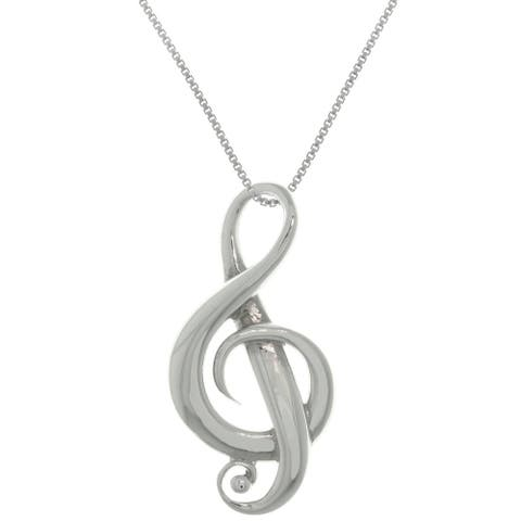 Sterling Silver G-Clef Music Note Symbol Pendant