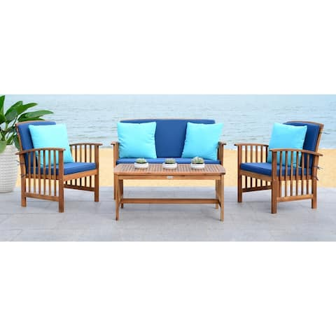 Safavieh Outdoor Living Rocklin Navy 4-Piece Set with Accent Pillows