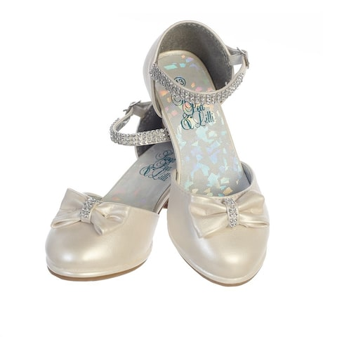 Girls Ivory PU Rhinestone Strap Bella Dress Shoes