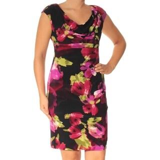Womens Black Purple Floral Cap Sleeve Above The Knee Empire Waist Cocktail Dress Size: 6