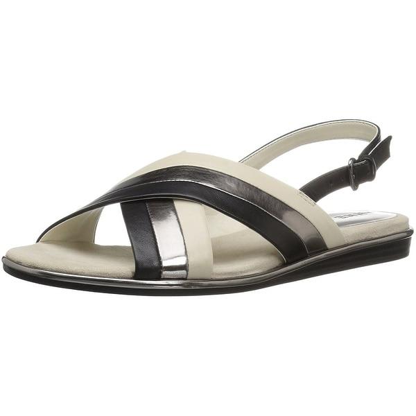 Anne Klein Women's galea Leather Flat Sandal