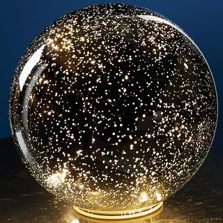 "Small Lighted Mercury Glass Sphere Gazing Ball - Battery Powered - 5"" Diameter"