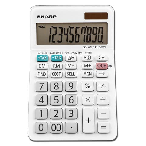 Sharp EL-330WB Professional Desktop Calculator with 10-Digit LCD Display, Large
