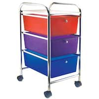 """Storage Studios Home Center Rolling Cart W/3 Drawers-15.25""""X26""""X13"""" Multicolor"""