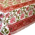 Handmade Lotus Flower Block Print 100% Cotton Tablecloth Red 60x60 Square 60x90 REctangle 72 Inch Round - 60 x 90 inches - Thumbnail 10