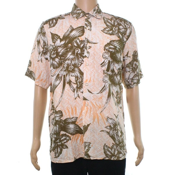 8aa6b615 Shop Tasso Elba Beige Mens Size Large L Button Down Hawaiian Shirt - On  Sale - Free Shipping On Orders Over $45 - Overstock.com - 22252030