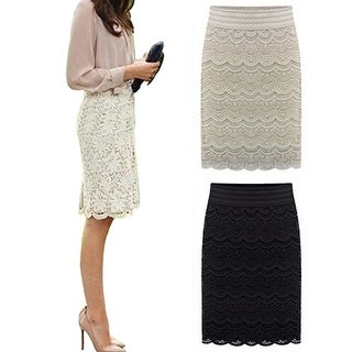 Women Sexy Bodycon Lace Crochet Floral Hollow Knee Length Skirt Office Work Wear
