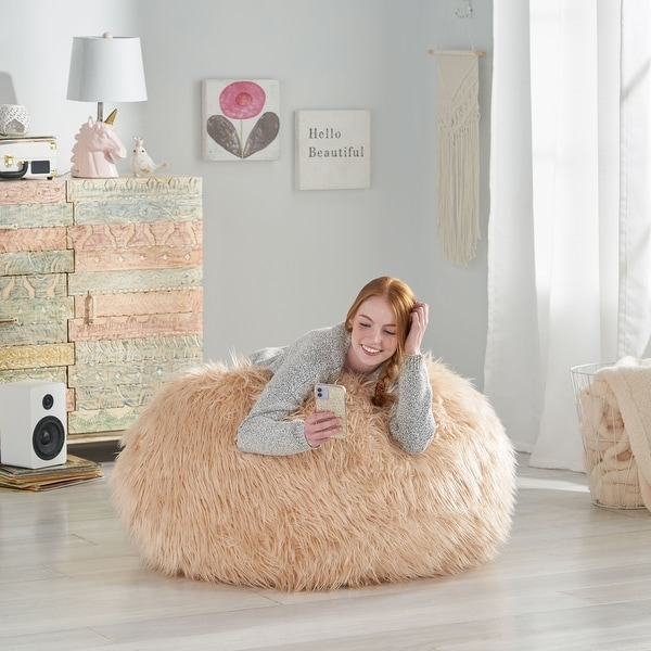 Mosier Modern Glam Faux Fur Bean Bag by Christopher Knight Home. Opens flyout.