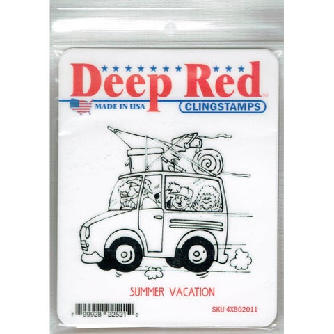 Deep Red Stamps Summer Vacation Rubber Cling Stamp - 3.1 x 2.75