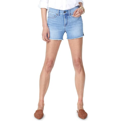 NYDJ Womens Denim Shorts Mid-Rise Frayed Hem