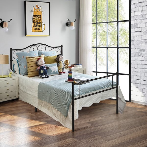 VECELO Twin Size Premium Metal Bed Frame Platform with Headboard and Footboard