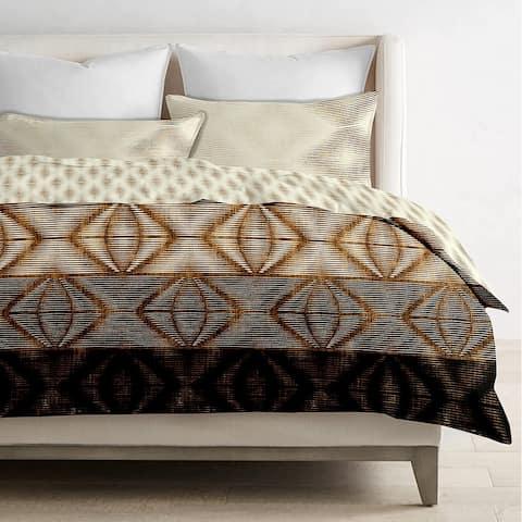 Delara GOTS Certified 100% Organic Cotton Aztec Reversible Print Duvet Cover and Sham Set of 2, Beige/Brown