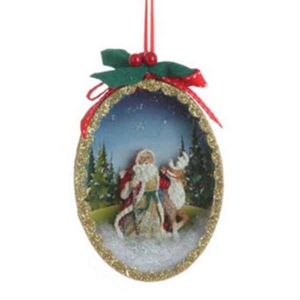 "5"" Santa Claus Classics Reindeer Winter Scene Shadow Box Christmas Tree Ornament - RED"