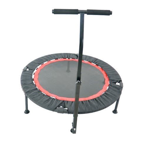 Indoor/Outdoor 40 Inch Mini Exercise Trampoline with Safety Pad - 40*40*48.42inch