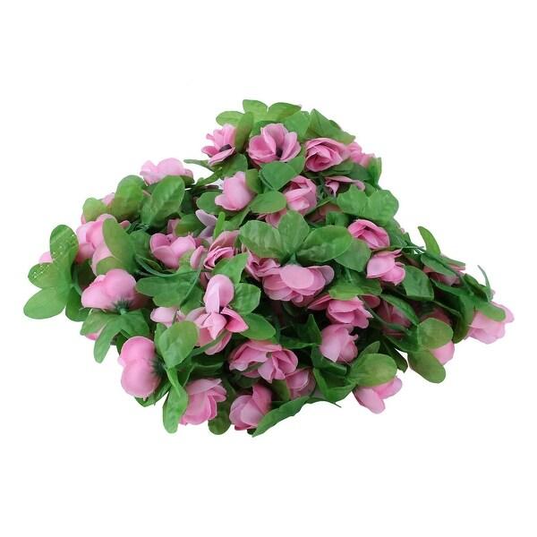 Plastic Artificial Flower Hanging Decor Ivy Vine Light Pink 7.2ft Length 2pcs