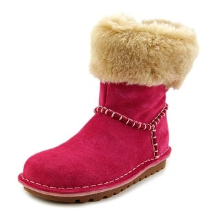 Clarks Greeta Ace Youth Round Toe Suede Pink Boot