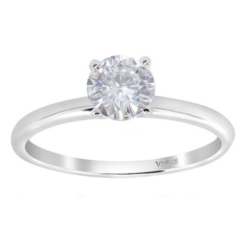 White Gold with Moissanite Solitaire Ring