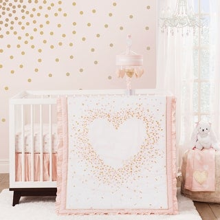 Link to Lambs & Ivy Sweetheart Pink/Gold/White Confetti Hearts Nursery 3-Piece Baby Crib Bedding Set Similar Items in Bedding Sets