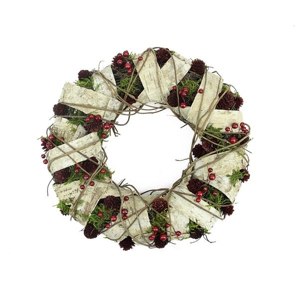 """13"""" Natural Twig and Birch Wood Pine Cone Artificial Christmas Wreath - Unlit - brown"""