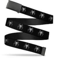 "Marvel Universe Blank Black  Buckle ""New"" Spider Logo Repeat Black Web Belt"