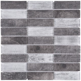 "TileGen. Recycle 1"" x 4"" Mixed Material Tile in Gray Wall Tile (11 sheets/10.56sqft.)"