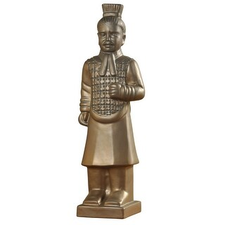 Harp and Finial HFA51094  Qin Ceramic Cultural Soldier Statue - Matte Gold