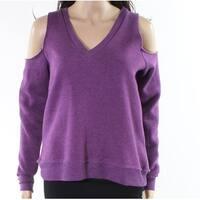 Alternative Purple Women Size Medium M Cold-Shoulder V-Neck Sweater