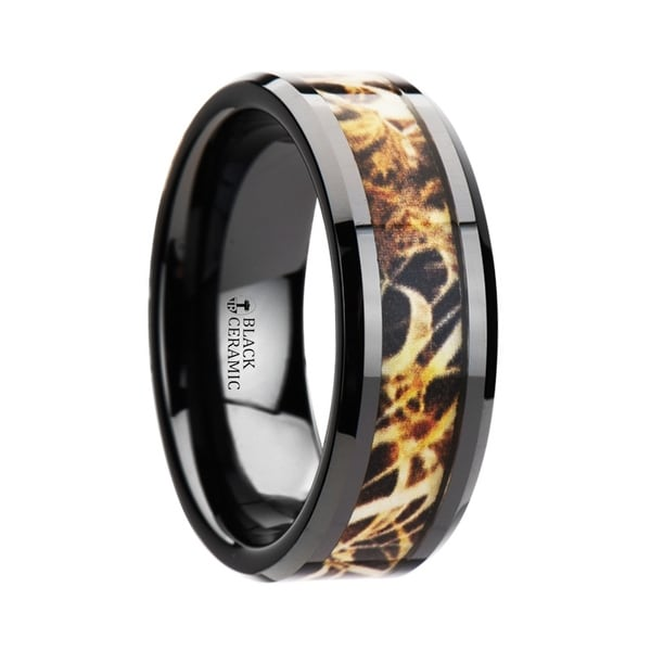 TUNDRA Black Ceramic Wedding Band with Leaves Grassland Camo Inlay Ring 8mm