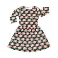 AnnLoren Little Girls Pink Green Christmas Poinsettia Swing Dress
