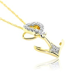 Anchor With Heart Diamond Pendant 10K Yellow Gold 0.09ct With Necklace By MidwestJewellery - White